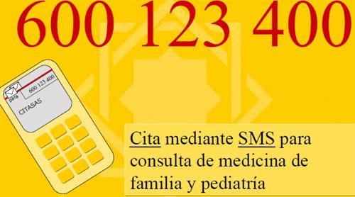 Cita Previa Sas mediante sms de teléfono