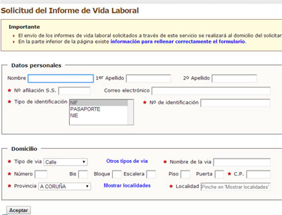 Formulario de Solicitar Vida Laboral sin certificado digital